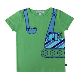 Kurzarmshirt mit Bagger Applikation in green, Artikelnr. 191 01 05