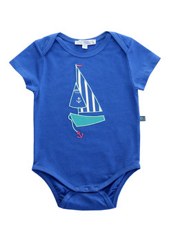 Baby Body mit Segelboot in royal blue, Artikelnr. 181 27 03