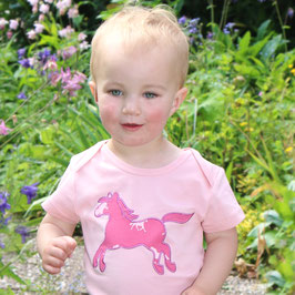 Baby Body mit Pferd in light rose, Artikelnr. 181 27 01