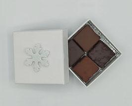 Boîte 4 chocolats assortiment noir et lait