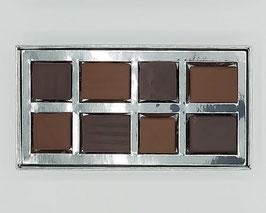 Boîte 8 chocolats assortiment noir et lait