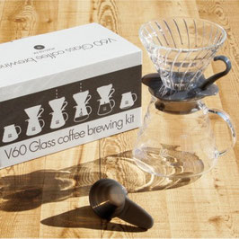 V60 Glass coffee brewing kit black