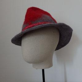FO41 Trilby en feutre rouge et gris