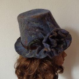 FO19 chapeau en laine feutrée bleu et lama