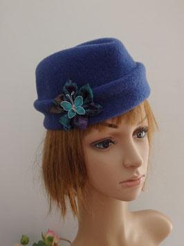 FB08 Calot en laine à béret vintage bleu