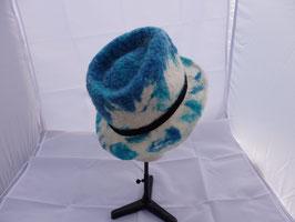 FO39 trilby en laine sufflok blanc et bleu
