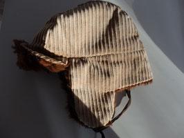 Chapka marron en velours et fourrure acrylique