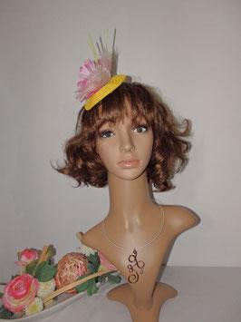 Bibi paille jaune fleur rose