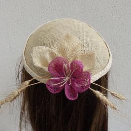 Chapeau bibi en jute campagne et blé