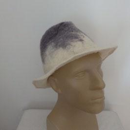 Borsalino en laine feutrée gris et blanc