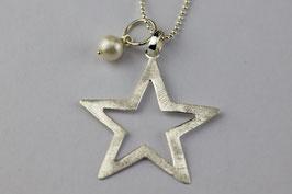 Silberkugelkette mit grossem Stern und Süßwasserperle