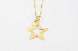 Vergoldete Kugelkette mit Stern