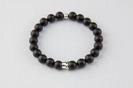 Onyx - Armband mit kleiner Silberkrone
