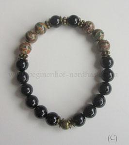 Armband aus schwarzem Turmalin und DZI-Achat