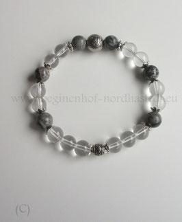 Armband aus grauem Jaspis und Bergkristall