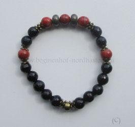 Armband schwarzer Turmalin faccettiert mit rotem Jaspis und Pyritrondellen