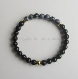 Zierliches Armband aus schwarzem Turmalin und Schneeflockenobsidian