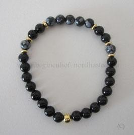 Zierliches Armband aus schwarzem Turmalin und Schneeflockenobsidian (2)