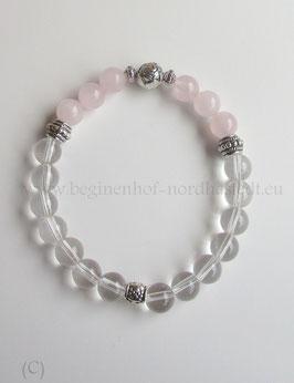 Armband aus Bergkristall und Rosenquarz