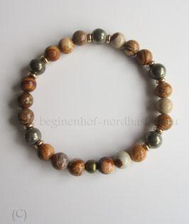 Armband aus Landschaftsjaspis und Pyrit