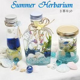 ハーバリウムキット 夏 自由研究 3本キット バラ入り ハーバリウムギフト 花材 シリコンオイル ハーバリウム花材 初心者