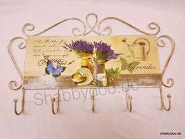 Hakenleiste Metall Schild vintage Stil Lavendel fünf Haken Handtuchhalter Küche und Bad