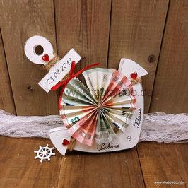 Geldgeschenk maritim Anker in weiß mit roten Herzen personalisiert 25 x 20 cm