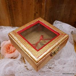 Ringkästchen Hochzeit gold rot mit Struktur und Jute