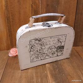 Kleiner Koffer shabby Deko vintage Stil in creme weiß mit Motiv und Verzierung