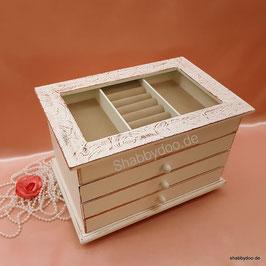 Schmuckkästchen Schmuckkasten Schmuck box individuell  aus Holz. Mit Glasscheibe und Struktur braun auf dem Deckel 3 Schubladen  Einzelstück