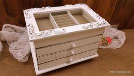 Schmuckkästchen shabby Holz weiß lange Ornamenten und 3 Schubladen