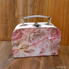 Kleiner Koffer shabby Deko vintage Stil mit Motiv rosa Rosen Schleife
