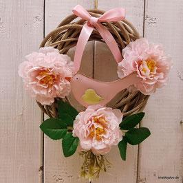 Kleiner Türkranz Frühling Frühlingskranz Haustür Blumen rosa Sommer Frühling 20 cm