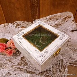 Ringkissen Holz Hochzeit weiß mit Moos und Sichtfenster ( Daria )