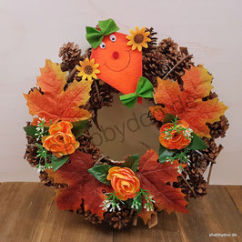 Großer Türkranz Herbst Kranz für die Tür und Wanddekoration in herbstlichen Farben mit Drachen Blumen und Blättern