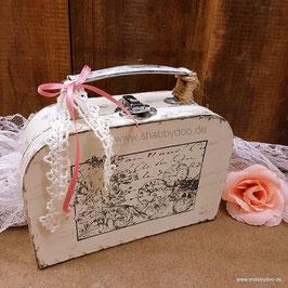 Kleiner Koffer shabby Deko vintage Stil in creme weiß mit Motiv, Verzierung, Spitze und rosa Schleife
