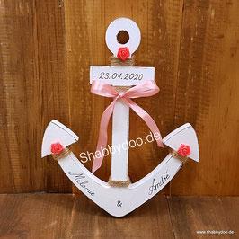 Anker Hochzeit aus Holz Geldgeschenk mit rosa roten Blumen und rosa Schleife