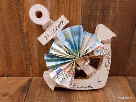 Anker aus Holz rustikales Geldgeschenk Hochzeit personalisiert 25 x 20 cm natur