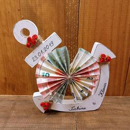 Geldgeschenk maritim Anker in weiß mit rot personalisiert 25 x 20 cm