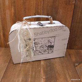 Shabby Deko Koffer verziert mit Spitze und Perlen Geschenkverpackung Hochzeit