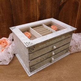 Schmuckkästchen aus Holz  in blau grau marmoriert mit 3 Schubladen