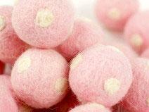 30 Filzkugeln Fliegenpilz  rosa
