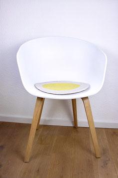 Sitzkissen Spiegelei Handgefilzt weiß/gelb