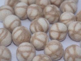 30 Filzkugeln beige/naturweiß