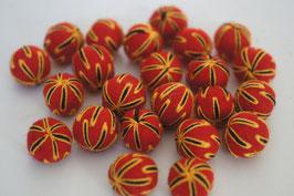 25 Filzkugeln 2cm bestickt - rot, gelb-schwarze Fäden