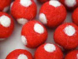 30 Filzkugeln Fliegenpilz rot