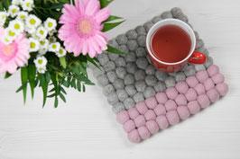 Filzkugel Untersetzer Quadratisch 20x20 rosa