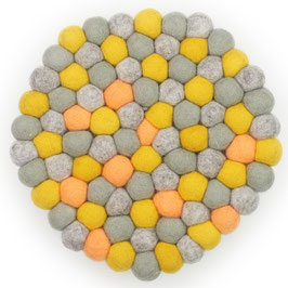 Filzkugel Untersetzer 20 cm grau/gelb/orange