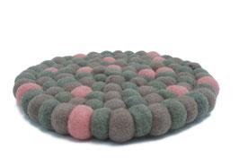 Filzkugel Untersetzer 20 cm grau rosa