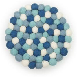 Filzkugel Untersetzer 20 cm blau/weiß